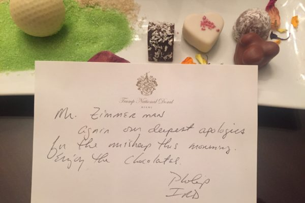 Customer Service note and chocolates
