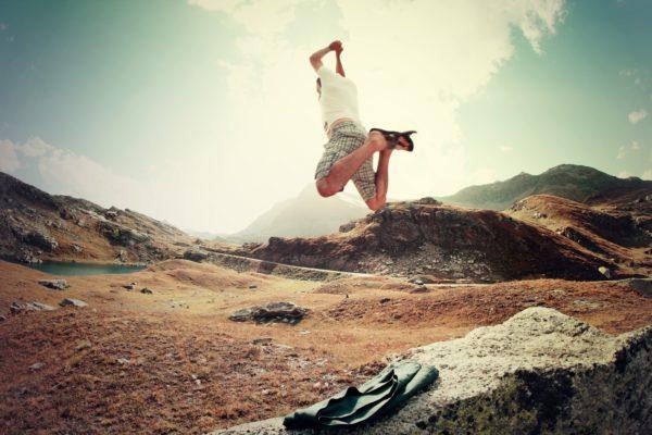 Man taking a leap