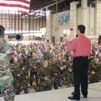 Curtis always enjoys speaking to the military