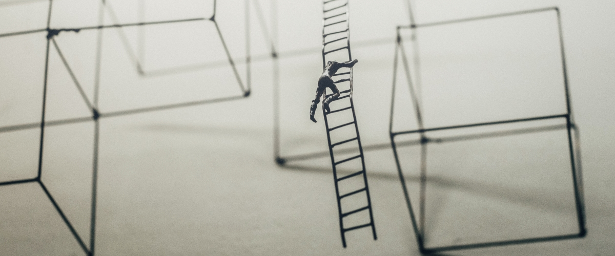 man trying to climb a grey corporate ladder